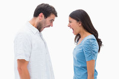 Angry couple shouting at each other Royalty Free Stock Photos