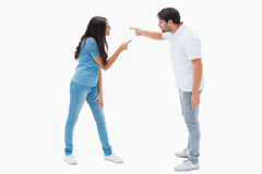 Angry couple shouting at each other Stock Photography