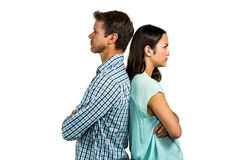 Angry couple standing back to back Stock Images