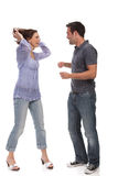 Angry couple yelling at each other Royalty Free Stock Photo