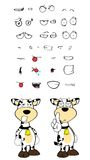 Angry Cow cartoon expressions set Royalty Free Stock Image