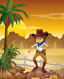 An angry cowboy at the desert. Illustration of an angry cowboy at the desert Royalty Free Stock Photography