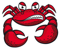 Angry crab with claws. In cartoon style for mascot or emblem design Royalty Free Stock Images