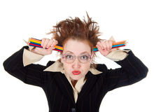 Angry crazy Business woman Royalty Free Stock Images