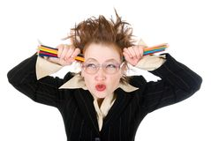 Angry crazy Business woman Stock Images