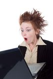 Angry crazy Businesswoman with a laptop Royalty Free Stock Images