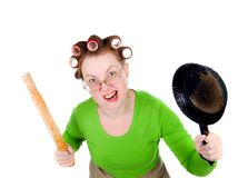 Angry crazy  housewife Royalty Free Stock Photo