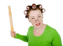 Angry crazy  housewife Royalty Free Stock Image