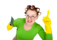 Angry crazy  housewife Royalty Free Stock Photography