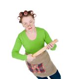 Angry crazy  housewife Stock Images