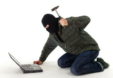 Angry criminal with the laptop and hammer Stock Photography