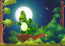 An angry crocodile above the rock at the forest vector illustration