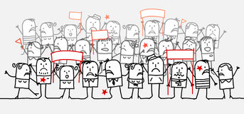 Angry crowd. Vector hand-drawn characters on line Royalty Free Stock Photo