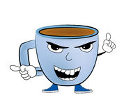 Angry Cup of coffee cartoon Royalty Free Stock Photography