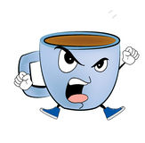 Angry Cup of coffee cartoon Stock Image