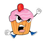 Angry Cupcake cartoon Stock Image