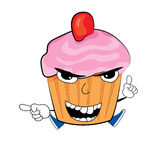 Angry Cupcake cartoon Stock Photography