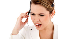 Angry customer support operator Stock Image