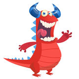 Angry cute cartoon red monster dragon laughing. Vector illustration of red horned monster royalty free illustration