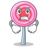 Angry cute lollipop character cartoon. Vector illustration Stock Image