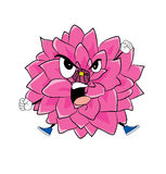 Angry  dahlia flower cartoon Royalty Free Stock Photo