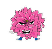 Angry  dahlia flower cartoon Stock Photography