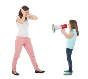 Angry Daughter Shouting Through Mother At Daughter Stock Images