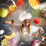 Angry and demanding chef. Chef with angry expression with food background Stock Photo