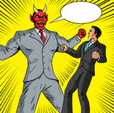 Angry Demon businessman. Angry Demon battling a good businessman Royalty Free Stock Photos