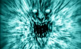 Angry demon face screams in fire. Blue color. stock image