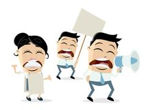 Angry demonstrators clipart. Funny clipart of angry demonstrators vector illustration
