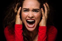 Angry, desperate woman screaming Stock Images