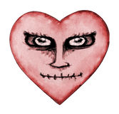 Angry Devil Heart Drawing Stock Photography