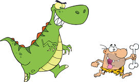 Angry Dinosaur Chasing A Caveman. Cartoon Character Royalty Free Stock Images
