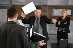 Angry director rejecting business report Royalty Free Stock Image