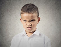 Angry disgusted boy. Closeup portrait Angry, displeased child Boy looking at you camera, mad about something, isolated grey wall background. Negative human Royalty Free Stock Photo
