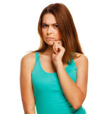 Angry displeased thinking woman girl isolated Royalty Free Stock Image