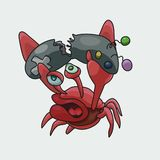 Angry and dissatisfied crab gamer vector illustration. stock illustration