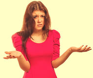 Angry dissatisfied woman haired girl in shirt shorts emotion iso Royalty Free Stock Photography