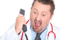 Angry doctor shouting Stock Photo