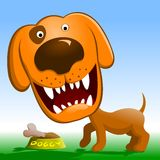 Angry dog. Red dog growls. Cartoon dog guarding a bowl with a bone Royalty Free Stock Photo