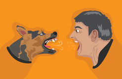 Angry Dog Angry Man Royalty Free Stock Photo