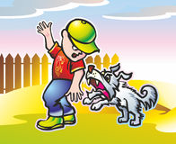 Angry dog. Baby boy in a cap running along a fence from a long-haired angry dog Stock Images