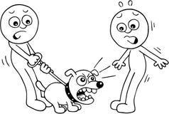 Angry Dog Barking. Hand drawn cartoon of angry dog barking at scared man Stock Photos