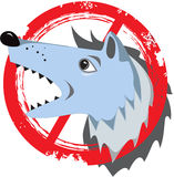 Angry dog.Prohibition sign.Danger icon.Stamp.Cracks.Scratches.Vi Royalty Free Stock Images