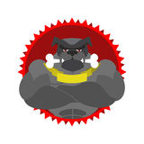 Angry dog Round emblem. Large Bulldog bodybuilder with bone. Vec Royalty Free Stock Photo