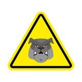Angry Dog Warning sign yellow. Bulldog Hazard attention symbol. Stock Photos