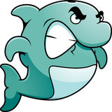 Angry Dolphin. A cartoon illustration of dolphin looking angry Royalty Free Stock Image