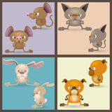 Angry Domestic Animals Set Stock Images