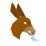 Angry donkey. Head of an aggressive beast with grin. Beast growl. S. Scary ferocious ass with long ears Royalty Free Stock Photo